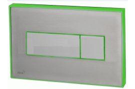 AlcaPLAST M1471-AEZ112, Nyomógomb előtétfalas rendszerekhez színes betéttel (Rozsdamentes acél-matt) és háttérvilágítással (Zöld)