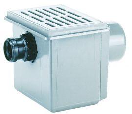 HL71.1/7 Pincei lefolyó DN110 vízszintes kimenettel, DN75 oldalsó beömlővel, 170x240mm/155x225mm műanyag ráccsal, szemétfogó kosárral