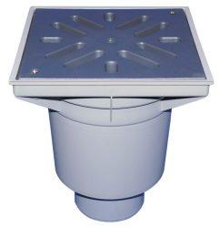 HL606L/5 Perfekt lefolyó DN160 függőleges kimenettel, 244x244mm műanyag kerettel, 226x226mm műanyag ráccsal, mechanikus bűzzárral, szemétfogó kosárral.