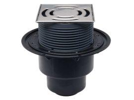 HL3100 Padlólefolyó DN50/75/110 függőleges kimenettel, 145x145 mm Klick-Klack rácstartóval / 138x138 mm ráccsal.