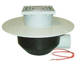 HL64.1BP/7 Lapostető lefolyó vízszintes DN75, PVC szigetelő tárcsával, fűthető (10-30W/230V), járható tetőhöz - 148-148mm / 137x137mm