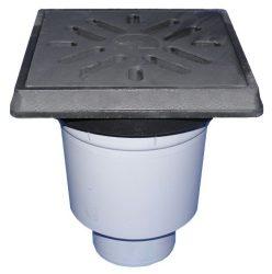 HL606.1W/5 Perfekt lefolyó DN160 függőleges kimenettel, műanyag 260x260mm kerettel, 226x226mm öntöttvas ráccsal, vízbűzzárral, szemétfogó kosárral.
