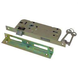 FLAME Beltéri bevésőzár, 2 kulcsos, szögletes előlappal, Flame normálkulcsos  2 nyelves 45×90×20×7mm / 84645 (MB)