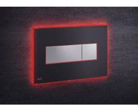 AlcaPLAST M1475-AEZ113, Nyomógomb előtétfalas rendszerekhez színes betéttel (Fekete-matt) és háttérvilágítással (Piros)