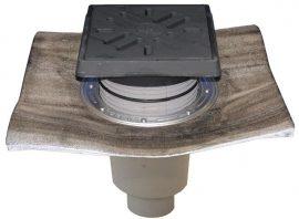 HL616.1HW/1 Perfekt lefolyó DN110 függőleges kimenettel, gyárilag felhegesztett bitumengallérral, 260x260mm öntöttvas kerettel, 226x226mm öntöttvas ráccsal, vízbűzzárral, szemétfogó kosárral.