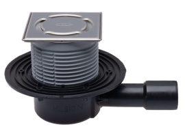 HL510N-3000 Padlólefolyó DN50/75/110 vízszintes kimenettel, vízbűzzárral, 121x121mm KLICK-KLACK/115x115mm ráccsal