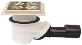 HL522KE.XL Zuhanylefolyó DN40/50 elfordítható kimenettel, vízbűzzárral, 145x145mm/9mm csempegallérral, 121x121mm/115x115mm rácstartóval, 30-50mm menetes gyűrűvel