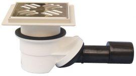 HL522KE Zuhanylefolyó DN40/50 elfordítható kimenettel, vízbűzzárral, 145x145mm/9mm csempegallérral, 121x121mm/115x115mm rácstartóval, 3-23mm menetes gyűrűvel