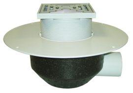 HL64BP/7 Lapostető lefolyó vízszintes DN75, PVC szigetelő tárcsával, járható tetőhöz - 148-148mm / 137x137mm
