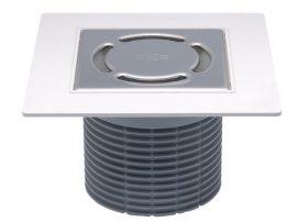 HL37NP.1 Rácstartó PVC -ből d 110mm/185x185mm/115x115mm nemesacél ráccsal, vízbűzzárral