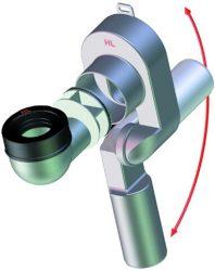 HL431/40 Vizeldeszifon, DN40 elfordítható kimenettel, függőleges bemenettel