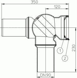 HL209.BL WC-csatlakozó DN90, 0 – 90° -ig fokozat nélkül szögbe állítható, ajakos tömítés a kerámia fogadására. bermudablau