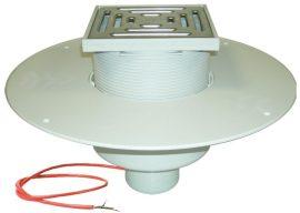 HL62.1BP/2 Lapostető lefolyó DN125, PVC karimával, fűtéssel (10-30W/230V) járható kivitel (148x148mm/137x137mm).