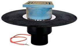 HL62.1BH/1 Tetőlefolyó DN110, gyárilag felhegesztett bitumengallérral, lefolyóráccsal és 10-30W/230V fűtéssel