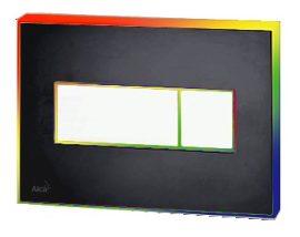 AlcaPLAST M1475-AEZ114, Nyomógomb előtétfalas rendszerekhez színes betéttel (Fekete-matt) és háttérvilágítással Szivárvány