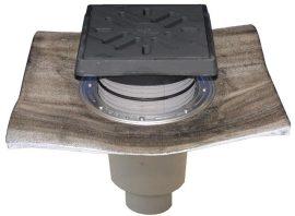 HL616.1HW/5 Perfekt lefolyó DN160 függőleges kimenettel, gyárilag felhegesztett bitumengallérral, 260x260mm öntöttvas kerettel, 226x226mm öntöttvas ráccsal, vízbűzzárral, szemétfogó kosárral.