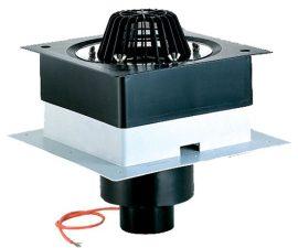 """HL63.1/1 Tetőlefolyó """"DrainBox"""" DN110 szigetelőkarimával, szorítóelemmel és 10-30W/230V fűtéssel"""
