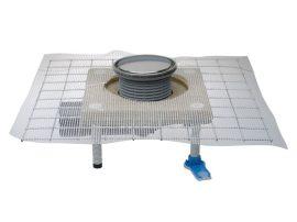 HL80.1CR Padlólefolyó DN50/75 elfordítható kimenettel, CeraDrain polymerbeton szigetelő karimával, vízbűzzárral, d 133mm/ d 112mm