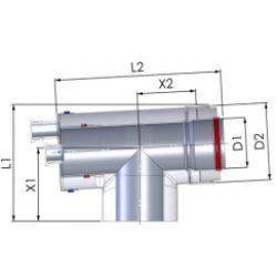 Tricox AAEM60 Alu/Alu ellenőrző T-idom mérőponttal 80/125mm