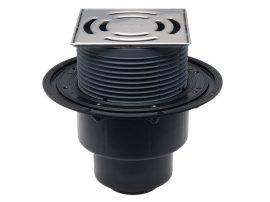 HL3100Pr Padlólefolyó DN50/75/110 függőleges kimenettel, 145x145 mm Klick-Klack rácstartóval / 138x138 mm ráccsal, Primus bűzzárral.