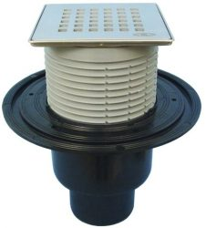 """HL310N-3120 Padlólefolyó DN50/75/110 függőleges kimenettel, vízbűzzárral, 121x121mm KLICK-KLACK/115x115mm """"Quadra"""" ráccsal"""