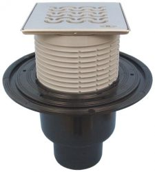 """HL310N-3121 Padlólefolyó DN50/75/110 függőleges kimenettel, vízbűzzárral, 121x121mm KLICK-KLACK/115x115mm """"Seine"""" ráccsal"""