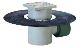 HL72.1H Padlólefolyó DN75/110 vízszintes kimenettel, gyárilag felhegesztett bitumengallérral, bűzzárral, 148x148mm/138x138mm műanyag rácstartóval és ráccsal