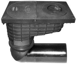 HL600G/2 Esővíz süllyesztőszekrény DN125, elfordítható csatlakozóval, mechanikus bűzzárral, lombfogóval, tisztítófedéllel, forró aszfaltot is tűrő öntöttvas látható résszel.