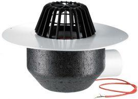 HL64.1P/1 Lapostető lefolyó vízszintes DN110, PVC szigetelő tárcsával, fűthető (10-30W/230V), lombfogó kosárral