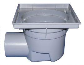HL605K Perfekt lefolyó test DN110 vízszintes kimenettel, 244x244mm műanyag kerettel