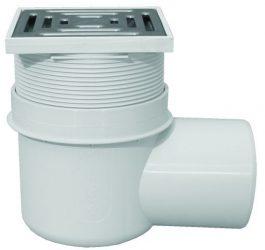 HL72N Pincei lefolyó DN110 vízszintes kimenettel, vízbűzzárral, 148x148mm/138x138mm műanyag rácstartóval, nemesacél ráccsal