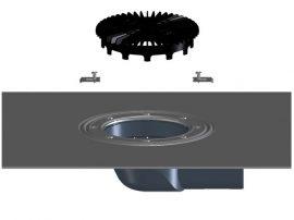 HL5100THK Terasz- és balkonlefolyó test DN75 oldalsó csatlakozóval, bitumengallérral