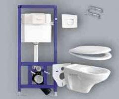 Sanit 995 szett beépíthető / falba építhető / önhordó, keretes wc tartály + nyomólap + wc ülőke + fali wc