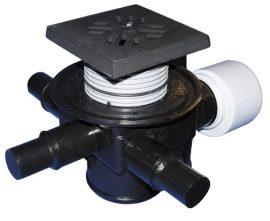 HL70G Padlólefolyó DN75/110 vízszintes kimenettel, szigetelő karimával, visszacsapó szeleppel, 3 db. DN40/50 bemenettel, 150x150mm/137x137mm öntöttvas