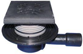 HL510NG Padlólefolyó DN40/50 vízszintes kimenettel, 150x150mm/137x137mm öntöttvas rácstartóval