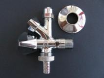"""Schlösser (német) 1/2""""-3/8"""" (10 mm)-3/4"""" mosógéptöltő kombinált / kombi sarokszelep / mosógéphez, mosogatógéphez mosdó, mosogató alá /"""