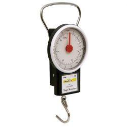 N2 poggyász mérleg (körszámlapos, kampós, max 32 kg) és 1m-es mérőszalag (mm- és coll beosztás) / 87000 / (MB)
