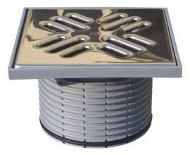 HL39.1 Magasító elem d 110mm/147x147mm/138x138mm nemesacél lefolyóráccsal, bűzzárral