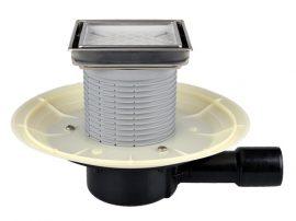 HL510N-3020 Padlólefolyó DN40/50 vízszintes csatlakozóval, vízbűzzárral, becsempézhető lefolyólappal 132x132mm/112x112mm