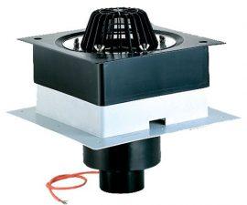 """HL63.1/7 Tetőlefolyó """"DrainBox"""" DN75 szigetelőkarimával, szorítóelemmel és 10-30W/230V fűtéssel"""