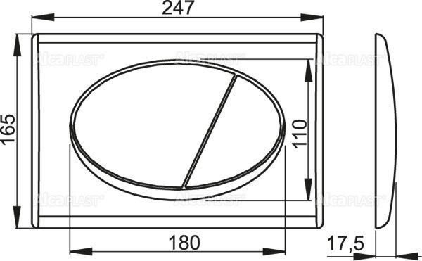 AlcaPLAST M71 Kétöblítéses nyomólap falba építhető / beépíthető wc tartályhoz, Fényes króm