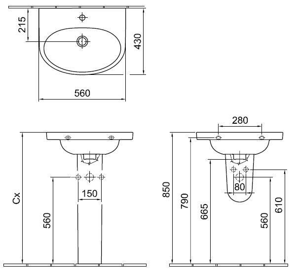 ALFÖLDI MELINA / 5556 59 R1 / 56 x 43 cm mosdó / Easyplus bevonattal