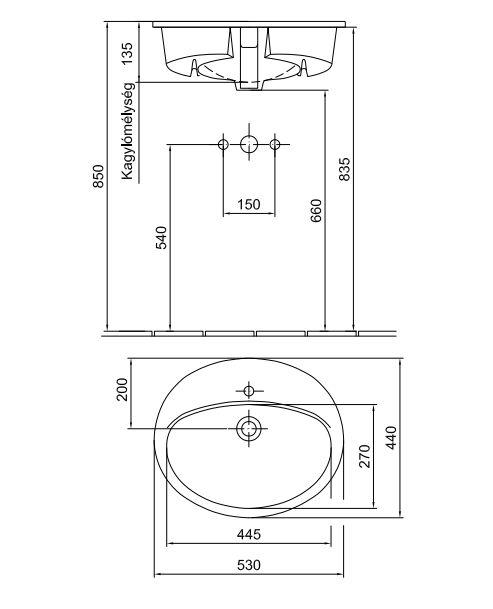 ALFÖLDI SAVAL 2.0 Beépíthető mosdó 53 x 44 cm-es, Fehér, 1 furattal középen 6006 33 01 / 6006 3301 / 60063301