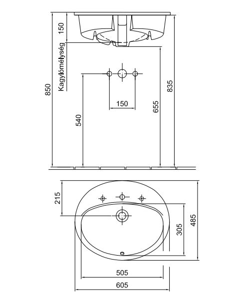ALFÖLDI SAVAL 2.0 Beépíthető mosdó 60 x 48 cm-es, Easyplus felület, 1 furattal középen 6006 40 R1 / 6006 40R1 / 600640R1
