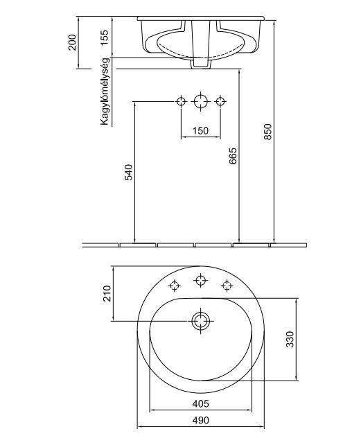 ALFÖLDI SAVAL 2.0 Beépíthető mosdó50 cm, Easyplus felület, 1 furattal középen 7011 50 R1 / 7011 50R1 / 701150R1