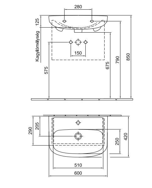 ALFÖLDI SAVAL 2.0 Beépíthető mosdó 60 x 42 cm-es 1 furattal középen, Easyplus felülettel 7017 60 R1 / 7017 60R1 / 701760R1