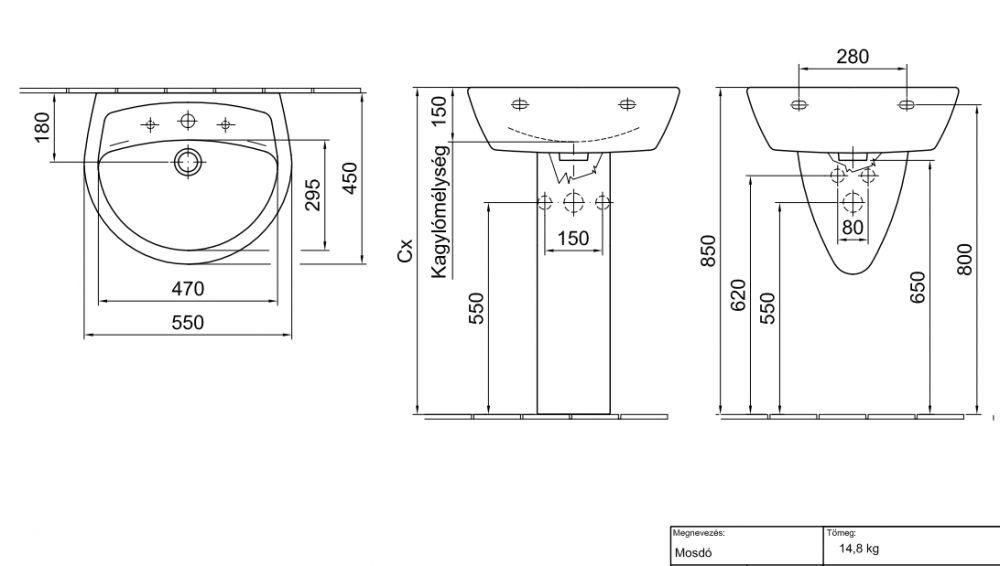 ALFÖLDI SAVAL 2.0 Mosdó 55 x 45 cm-es 1 furattal középen 7018 5501 / 7018 55 01 / 70185501