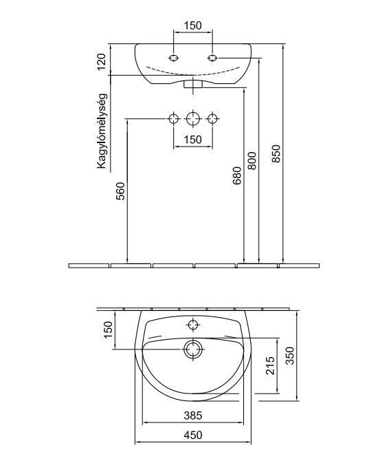 ALFÖLDI SAVAL 2.0 Kézmosó 45 x 35 cm-es, Easyplus felület, 1 furattal középen 7030 45R1 / 7030 45 R1 / 703045R1