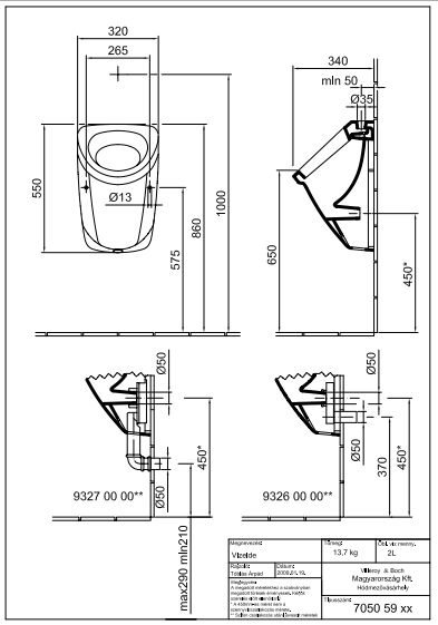 ALFÖLDI SAVAL 2.0 Vizelde, Felső bekötésű Pissoir, Easyplus bevonattal 7050 59 R1 / 7050 59R1 / 705059R1
