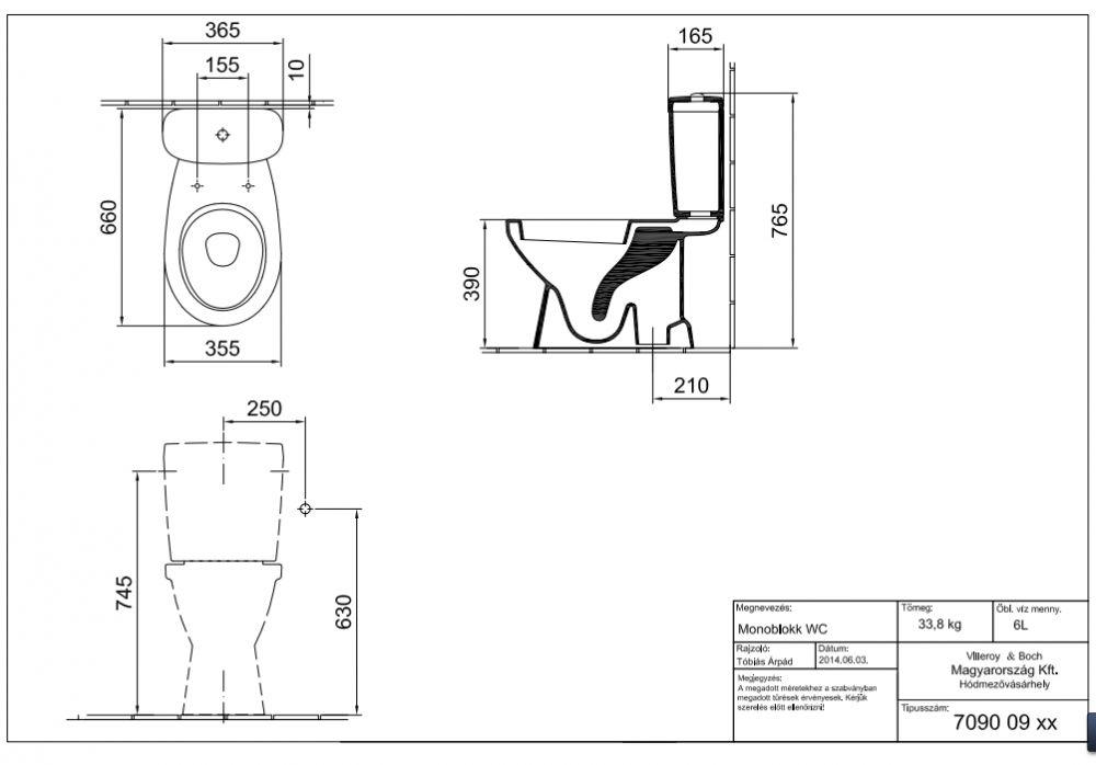 ALFÖLDI SAVAL 2.0 Mélyöblítésű monoblokk WC, Alsó kifolyású 7090 09 R1 / 7090 09R1 / 709009R1, Easyplus bevonattal